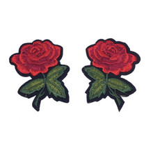 2pcs/Set Rose Flower Embroidery Patches Sticker for Clothes Parches Ropa Applique Embroidery Flower Patches