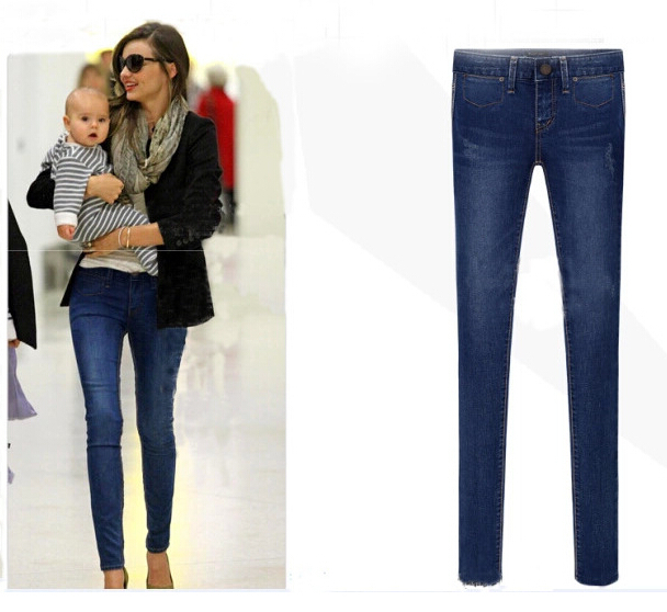 European Grand Prix 2014Autumn and Winter  New Female high-elastic  Jeans Slim Pants Tide long Jeans Women free shipping