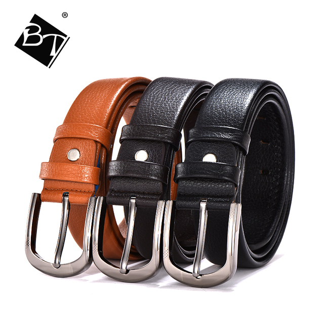BT wholesale men genuine leather belt with copper pin buckles cow hide for man fashion belts