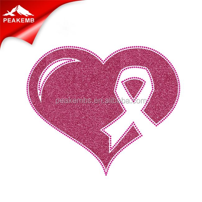 Hotfix rhinestone ribbon design iron on breast cancer rhinestone transfer for clothing