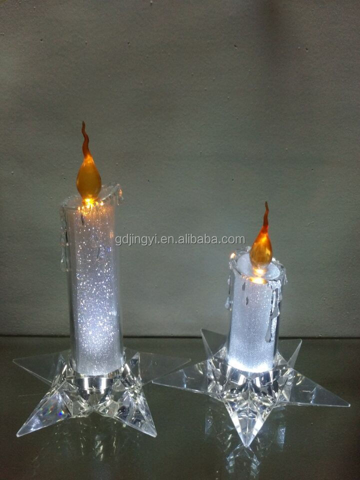 acrylic artificial decoration LED flameless party candle light