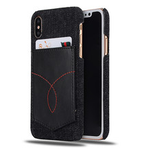Genuine Leather Fashion Jeans Denim pattern Back Cover Case for iPhone x with pocket card holder CA5754