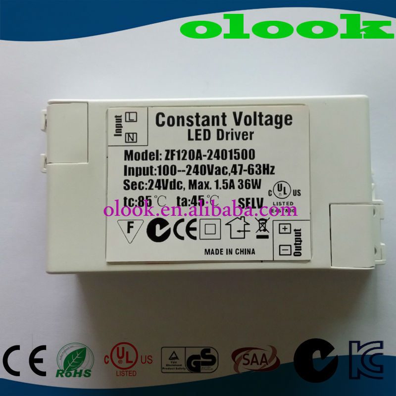 Constant Voltage 24V 1500mA LED driver with CUL UL C-Tick SAA approved