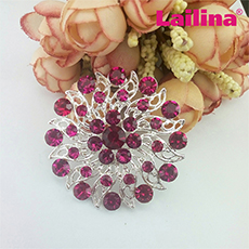 50mm antique Fuchsia rhinestone flower brooches, round brooch for bouquet, crystal korean wedding garment jewelry brooch