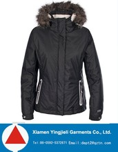 Fur hooded ski jacket women, black women ski jacket , warm-keeping and waterproof ski snow wear
