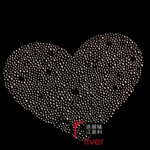 Hotfix rhinestone iron on heart shape crystal transfer for lady clothing DIY rhinestone iron on trasfer