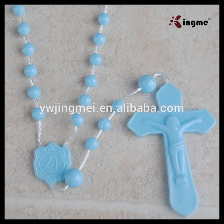 religious rosary necklace light blue plastic beads rosary for kids