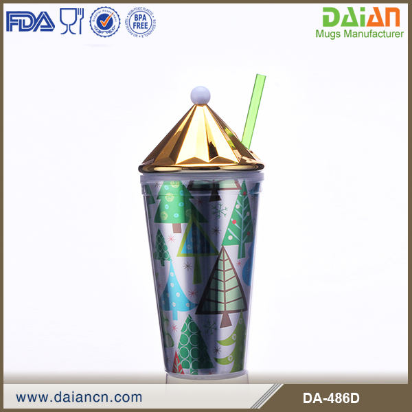 Promotional double wall acrylic straw tumbler drinkware