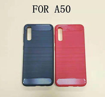 Wire drawing Shockproof Soft carbon fiber TPU phone case cover for Samsung Galaxy A50