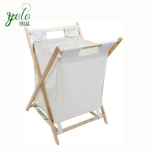 Folding Bamboo laundry basket hamper with removable bag