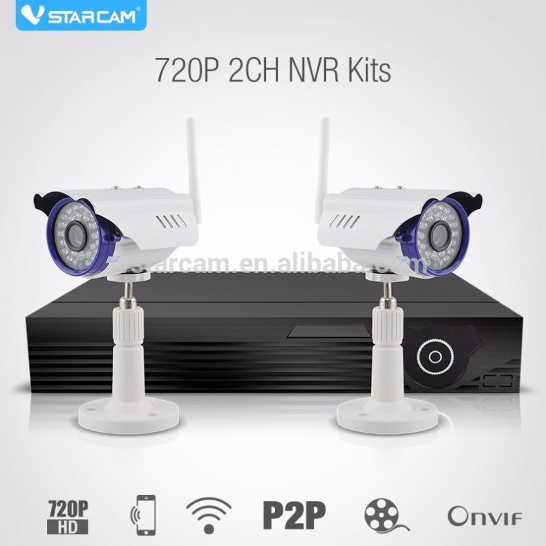 2016 VStarcam offices use NVR Kit 2pcs cctv ip camera support HDMI 720P home surveillance kit