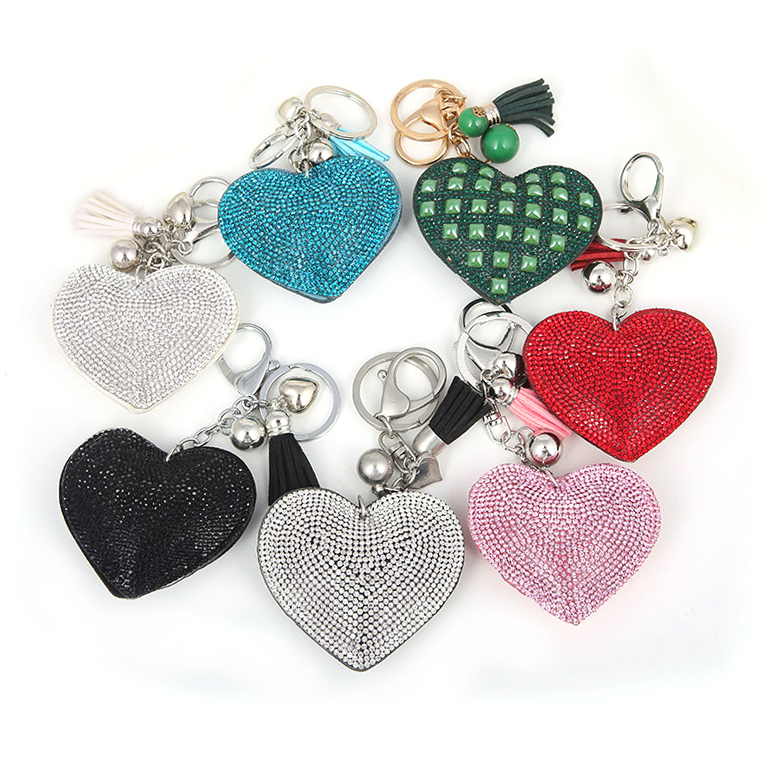 Custom souvenir volume leather Keychain, genuine leather tassel key chain ring fobs, rhinestone heart leather keychain keyring