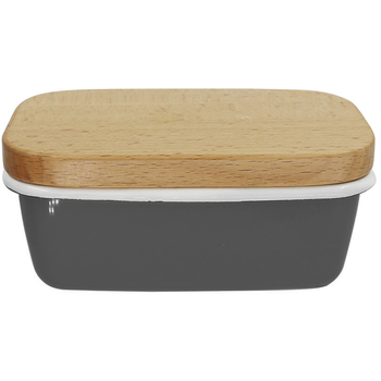Custom colourful  kitchen rectangular metal enamel butter container tray container with wooden lid