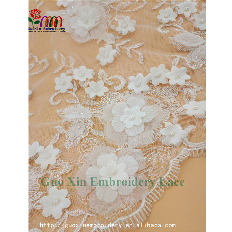 High quality embroidery designs cord appliques lace 3d floral