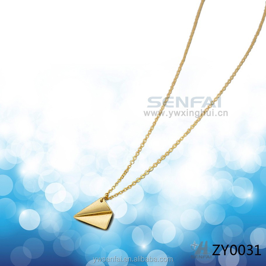 2015 new product unique jewelry 18 k gold paper airplane necklace