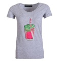 Patchwork Sequin Pattern Short Sleeve Grey V neck Cotton Classic T-Shirt