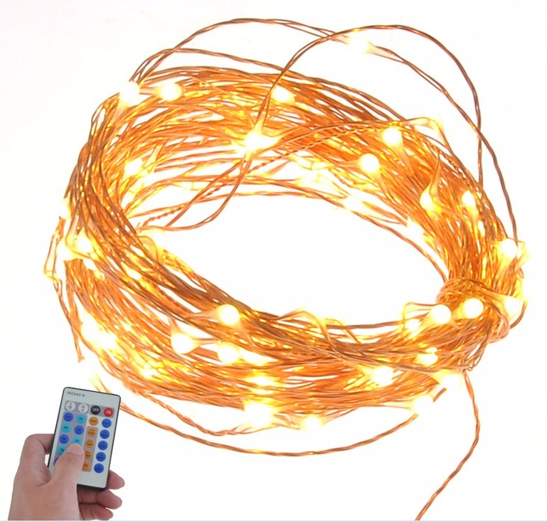 Facotory price copper wire outdoor led string christmas lights with remote control and power supply