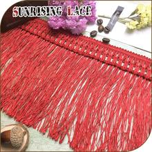 Curtain Red Crochet Long Polyester Rayon Chainette Fringe