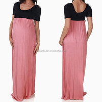 2015 black pink colorblock korean style maternity maxi dress