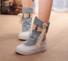 Monroo new fashion women short ankle boots falt casual canvas shoes boots