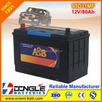 High Performance Long Life 95d31l and 95d31r mf Car Battery