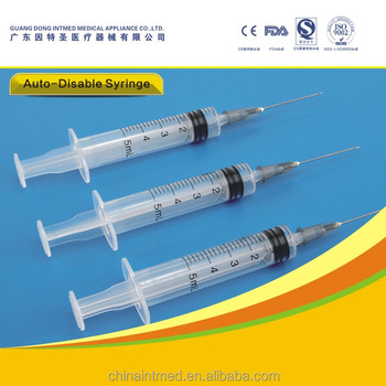 1/3/5/10 ml/cc disposable auto disable safety syringe from guangdong china consumables