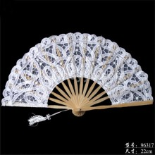 Factory direct sale stock wholesale 20 cm in Europe and the wind bamboo custom-built white wedding lace fan