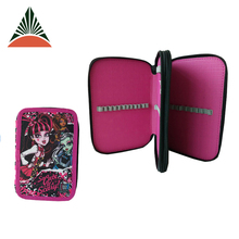 Custom Print Pen Polyester Pencil Case With Two Zip Compartment