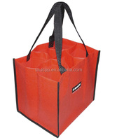 fashion whosale high quality red non woven felt wine tote bag