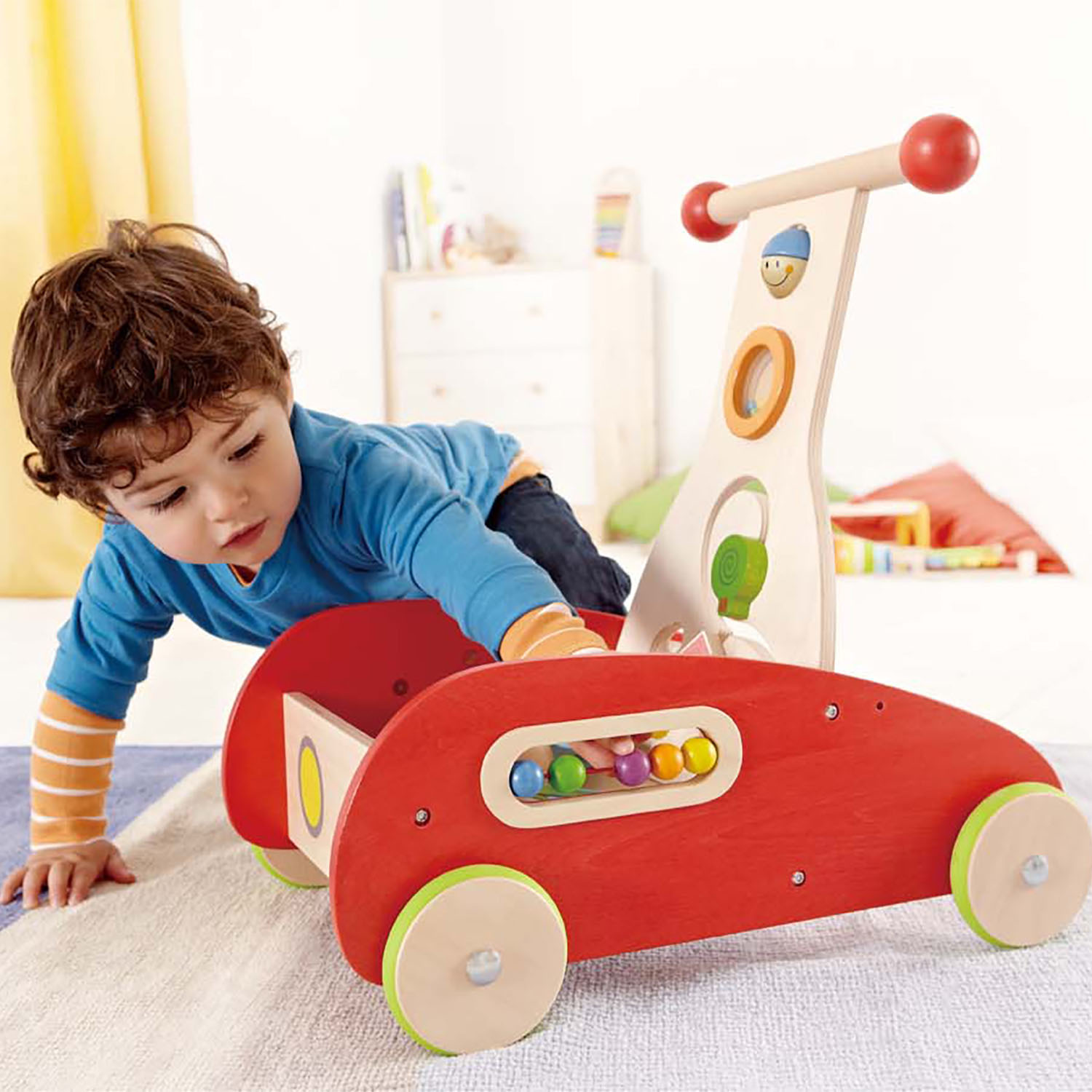 Hape Toys Toddler Baby Push /& Pull Toy Wonder Walker Cart with Wooden Blocks
