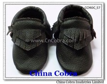 soft sole leather baby moccasins with double fringe CHINA COBRA