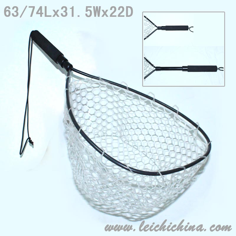 Aluminium frame with telescopic 2 sections handle rubber fish landing nets