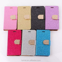 Luxury Glitter Bling Crystal Diamond PU Leather Wallet Flip Case With Card Slots Cover For Apple iPhone6S 4.7 inch