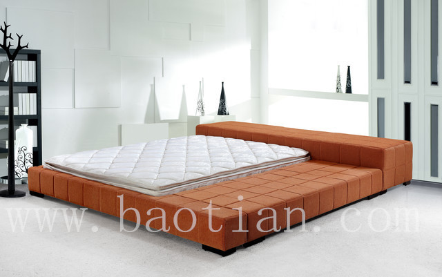 Japanese style modern leather bed tatami platfrom bed with - Cama estilo tatami ...