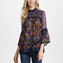 New Design Women Sexy See Through Silk Crepe Tops And Blouses