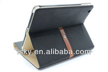 Black Envelope Style Pu Leather Case Cover with Leather Belt+buckle for Apple the New Ipad 2 and 3.Built-in Flip Stand-Sleep/Wak