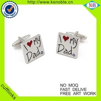 Wholesale lovely square shape metal silver custom enamel cufflinks