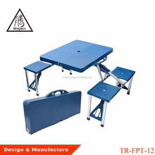 Suitcase aluminum folding wooden picnic table with 4 seats