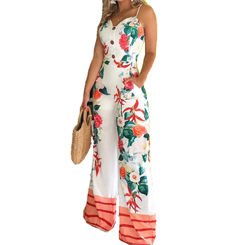 Wholesale fashion women summer spaghetti strap sleeveless wide leg floral jumpsuit