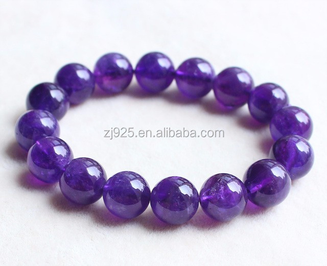Wholesale 12mm Genuine Birthstone Amethyst Beaded Bracelet Bangle Natural Stone