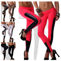 2016 the latest running exercise Women yoga legging sexy Leather Trim Stretch Compression Pants