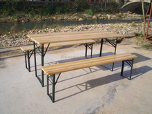 Hot sale outdoor wooden folding beer table set benches