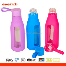 everich new product 600ml drinks glass bottle with silicone sleeve