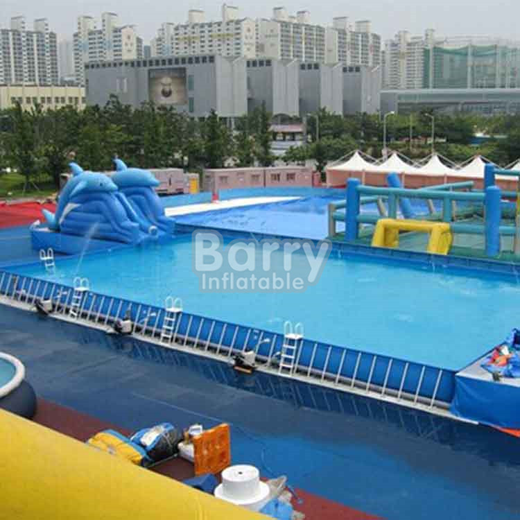 Fast shipping container swimming pool , rectangular metal frame pool for training