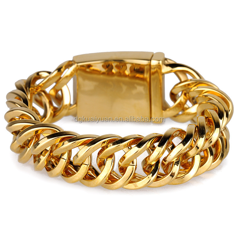 18K gold plated stainless steel bracelet hand chain for men