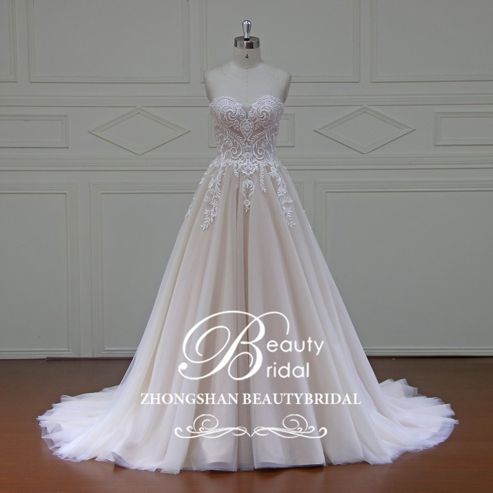 New Arrival Simple Bride Nude Color Guangzhou Beach Gowns Wedding Dress Bridal