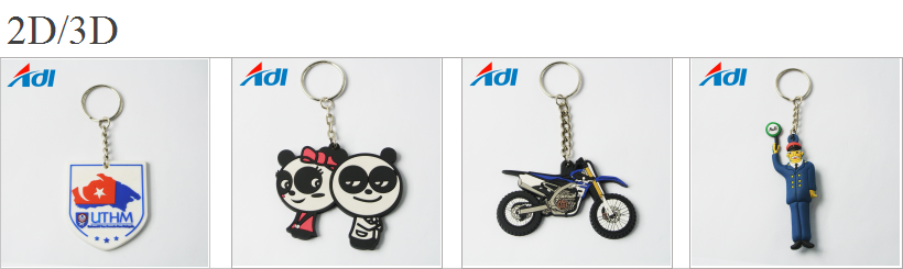 Wholesale custom diy colorful soft rubber 2d pvc keychains