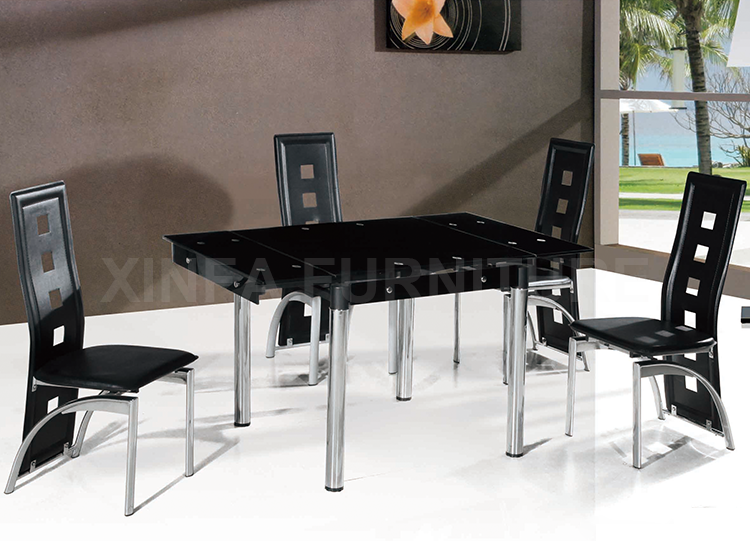 Cheap Modern Popular Extendable Glass Top Dining Table Set 6 Chairs
