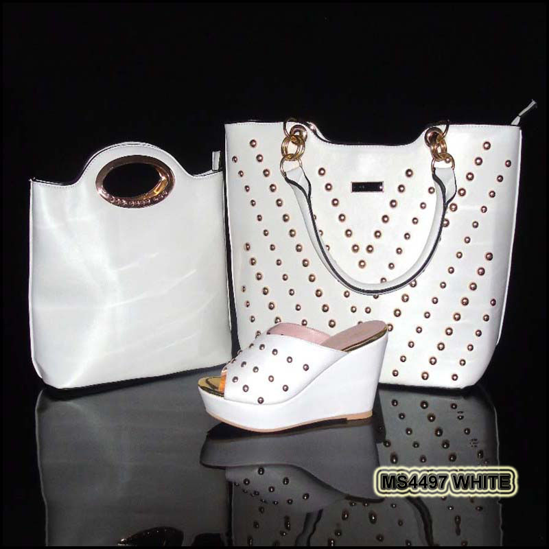 MS4497 White China guangzhou wholesale market of shoes 2016 newest sandals and clutch bags