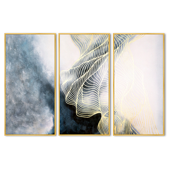 Abstract Golden 3 Panels Art Prints on Canvas Modern Decor